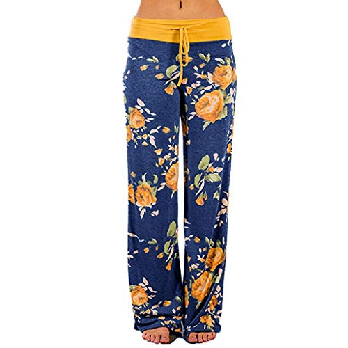 Womens High Waist Leggings Yoga Pants Pajama Pants Palazzo Lounge Pants (M, Floral-Yellow)
