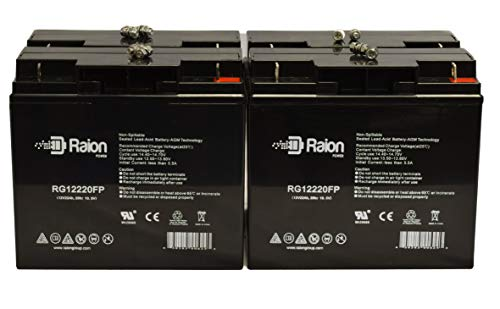 Raion Power RG12220FP 12V 22Ah Upgraded Replacement UPS Backup SLA Battery for Suiter 18AH - 4 Pack