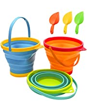 Beach Pails Sand Buckets and Sand Shovels Set for Kids,Cute Beach Toys,Foldable Bucket Portable Silicone Pail for Kids Beach Play, 2.5L, 3PCS