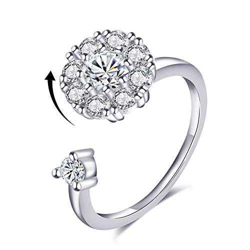 (Bling Toman Cubic Zirconia Rings 925 Sterling Silver Plated Ring for Girls Womens White Gold Spinner Rings Teenage Anxiety Rings CZ Wrap Rings Mothers Gift (Silver Band Ring))