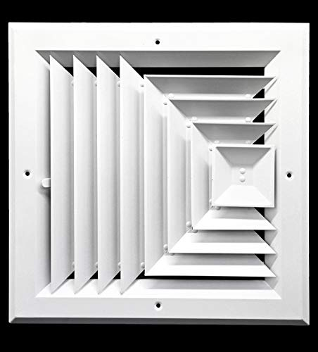 Square Duct Cover - 10 x 10 (in) HVAC Vent Cover - 3 Way Supply Grille - Duct Cover & Diffuser - Low Noise - for Ceiling - with Opposing Damper Blades [Outer Dimensions: 13