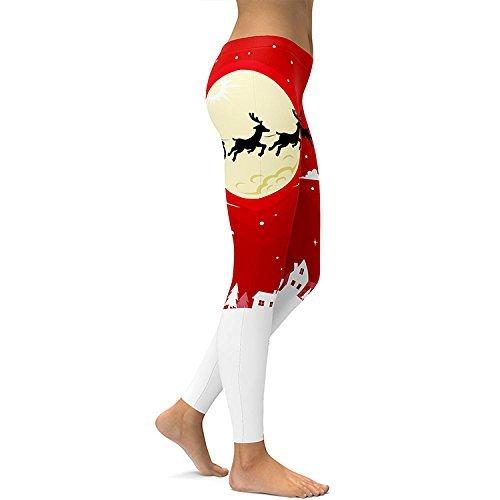 Donne Caviglia Nbe Natale Metà Leggings Pattern Christmas Print Fitness Cintura Yoga Elk Lunghezza Sport Alla Stretch Pantaloni qBBwCdSR