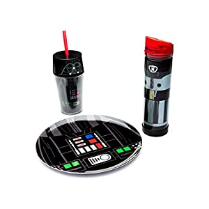 Zak! Designs Tritan Plastic Red Light Saber Water Bottle with Screw-on Lid, BPA-free and Break Resistant, Inspired by Darth Vader's Light Saber from Star Wars, 21.5oz