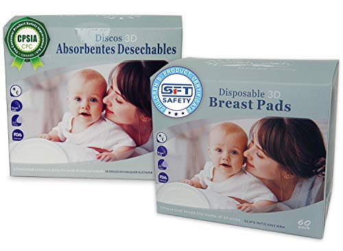 (Oleh-Oleh Stay Dry Disposable Nursing Pads for Breastfeeding, Super Thin, Leak Proof and Excellent Absorbent 120 Count (2 Pack, 60 Count Each))