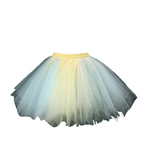 [Honeystore Women's Tutu Petticoat Skirt Prom Evening Occasion Accessory Baby Blue and Yellow] (Mardi Gras Outfit Ideas)