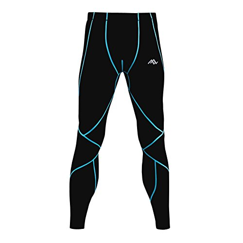 PASSWIN Men's Sports Tights Base Layer Compression Long Pants 3XL Black&Blue