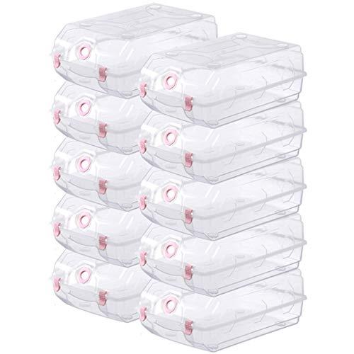 Caja de Zapatos de Cristal Caja de Almacenamiento de Acabado Paquete de plástico Grueso Grande 10 Paquetes