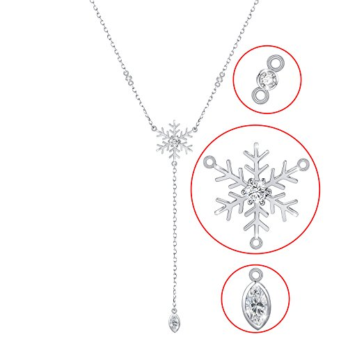 S925 Sterling Silver Snowflake Y Shape Necklace for Lady Women CZ