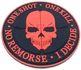One Shot One Kill No Remorse I Decide Sniper Nero Patch PVC Toppa