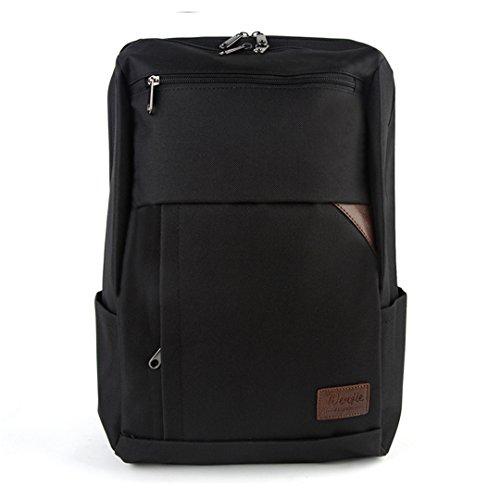Wewod Estudiante Casual Mochila de Ordenador Portatil 14 Pulgadas Color Sólido Bolso Escolares Negocio Backpack para Mujeres y Hombres (Gris) Negro