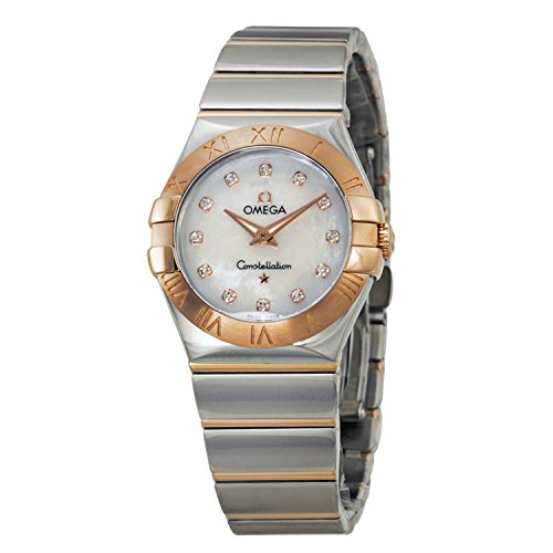 Omega Constellation Diamond Mother of Pearl Dial Steel and Rose Gold Ladies Watch 12320276055003