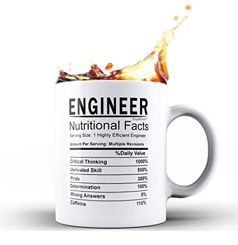 Shop4Ever Engineer Nutritional Facts Novelty Ceramic Coffee Mug Tea Cup ~ Graduation Birthday Gift For New Engineer ~ (11 oz, White) (Best Gifts For Aerospace Engineers)