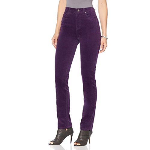 DG2 by Diane Gilman Stretch Velvet Skinny Jean Fixed Flat Deep Purple 6 New 569-228 (Pants Velvet Purple)