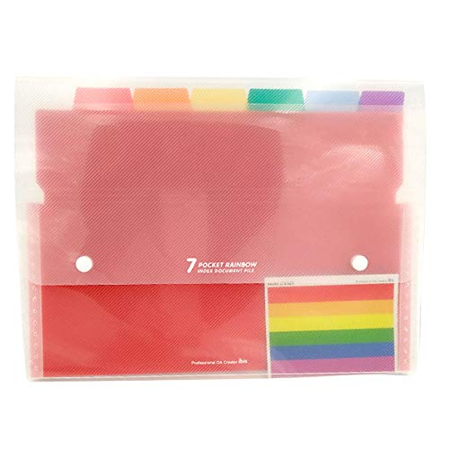 YASSUN Organ Multi-layer Data Storage Box - Hanging Folder - Letter Size A4 Plastic File Bag - 7 Color