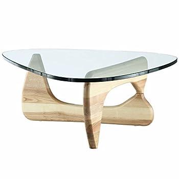 EMODERN FURNITURE eMod - Noguchi Coffee Table Triangle Glass Top Natural Base