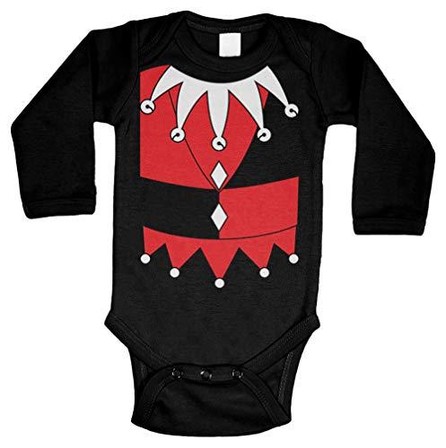 Tcombo Jester Costume - Clown Silly Wacky Long Sleeve Bodysuit (Black, 12 Months) ()