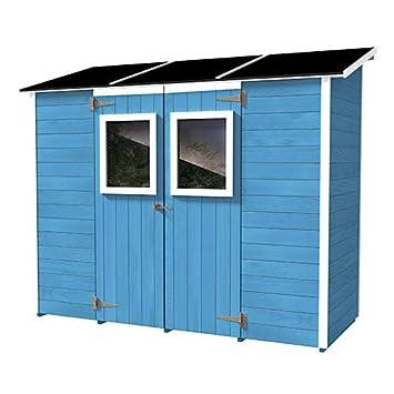Casita Box Caseta de Madera Azzurra para Herramientas con 2 Puertas y Ventanas 245 x 102