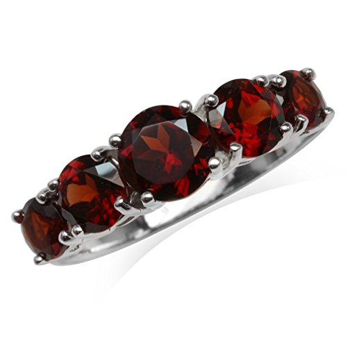 2.94ct. 5-Stone Natural Garnet White Gold Plated 925 Sterling Silver Ring Size 12 ()