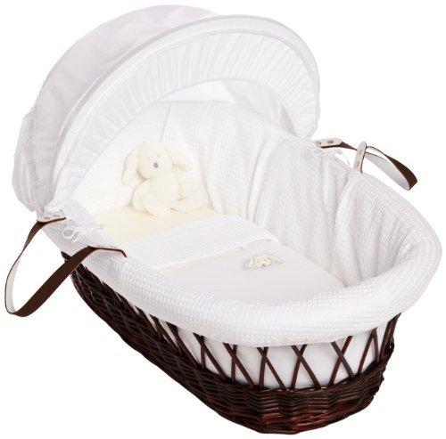 Izziwotnot Gift White on Dark Wicker Moses Basket by Izziwotnot