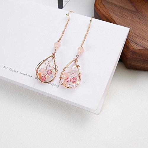 Exclusive Hand-Made Japanese-Style Earrings Handmade Pink Petals Wrapped Crystal Earrings Drop Earrings Ear Clip