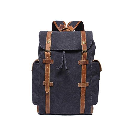 BAGEHUA 少年少女レトロなバックパック、大容量ファッション旅行バックパックには、耐久性に優れた防水通気性に優れたピクニックバッグ(長 30 cm 、高さ 45 cm 、幅 12 cm ) 4 色 B076KCF2ZBDark grey