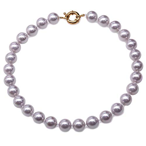 JYX Pearl Shell Pearl Necklace Lavender Round 12mm Genuine South Sea Shell Beads Jewelry 18''