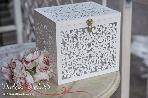 Wedding Card Box Box With Card Slot Love Story Keepsake Box White Wedding Card Holder Wedding Money Box Wedding Idea Love Letter Box ()