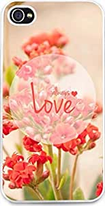"Iphone Case,Dseason Iphone 4s Hard Case NEW fashionable Unique Design christian quotes Flower ""always love"""