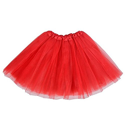 BellaSous Classic Elastic Ballet-Style Adult Tutu Skirt, by Great Princess Tutu, Adult Dance Skirt, Petticoat Skirt Or Pettiskirt Tutu for Women. Tulle Fabric (Red Tutu, One Size Fits Most) -