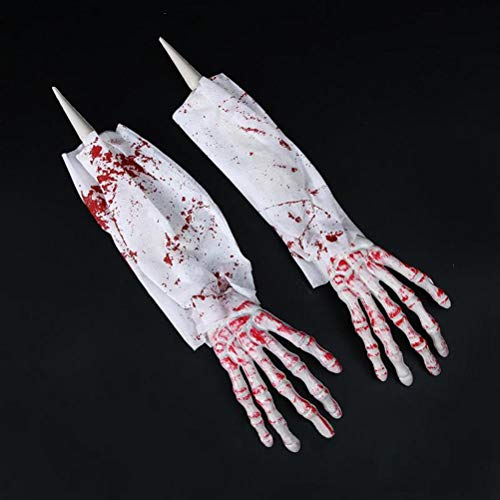 (BERTERI 2pcs Creepy Skeleton Hands Halloween Party Props Spooky Fake Hands Costume Masquerade Party Supplies Halloween Decoration)
