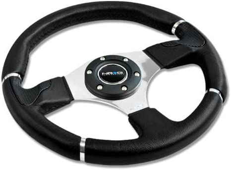 ST-008R 350mm 6 Hole Racing Steering Wheel Black Leather Silver Trim with Horn Button ST-008R NRG Innovations