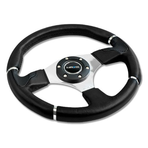 (NRG Innovations, ST-008R, 350mm 6 Hole Racing Steering Wheel Black Leather Silver Trim with Horn Button ST-008R)