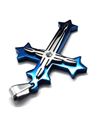 Konov Jewelry Mens Stainless Steel Cross Pendant Necklace, Blue Silver, with Gift Bag, 24 inch Chain, C18351-24