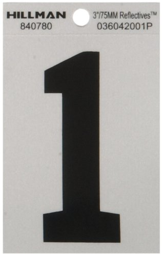 Number 3 Inch Reflective (The Hillman Group 840780 3-Inch Black on Silver Reflective Square-Cut Mylar House, Number 1)