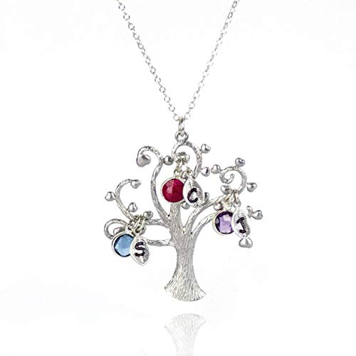 Personalized Family Tree Mom Necklace, Grandma Necklace with Birthstone and Initial Charms, Heart Tree of Life -