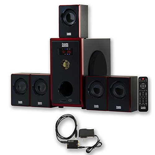 Acoustic Audio AA5103 Home Theater 5.1 Speaker System with Optical Input Surround Sound by Acoustic Audio by Goldwood