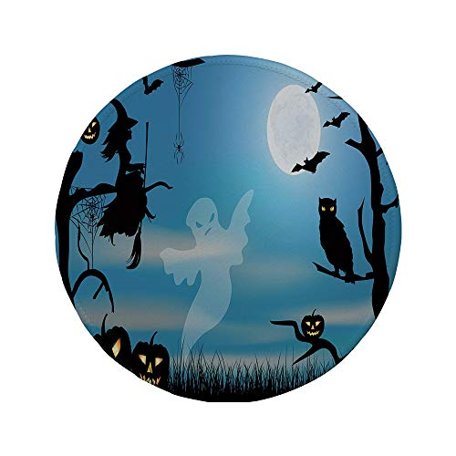 Non-Slip Rubber Round Mouse Pad,Halloween,Ghost Witch Owl Spider Web Bats Trees Fantastic Grange Forest at Night Decorative,Blue Black White,7.87