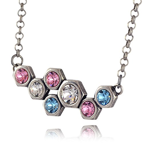 [Nara Large Honeycomb Necklace, Silver Plated Modern Hexagon Bolts on Pendant with Swarovski Crystal] (Cocktail Honey Costumes)
