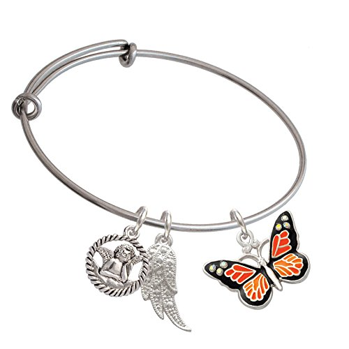 Silvertone Large Monarch Butterfly with 6 AB Crystals Angel Expandable Bangle Bracelet