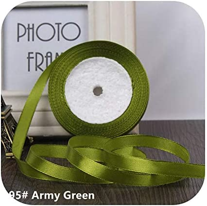 kawayi-桃 25ヤード/ロールグログランサテンリボン結婚式のクリスマスパーティーの装飾6mm-40mm DIY弓クラフトリボンカードギフト-Army Green-10mm