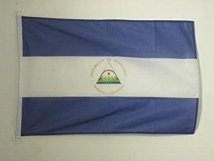 AZ FLAG Bandera de Nicaragua 90x60cm Uso Exterior - Bandera NICARAGÜENSE 60 x 90 cm Anillos