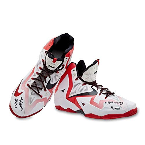 LeBron James Autographed & Inscribed Game-Used LeBron 11 Shoes (vs. Nuggets 3/14/14) - Upper Deck - Autographed Game Used NBA Sneakers