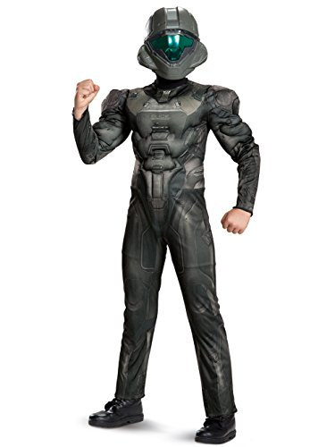 Halo Spartan Buck Classic Muscle Costume, Black, Large (10-12)