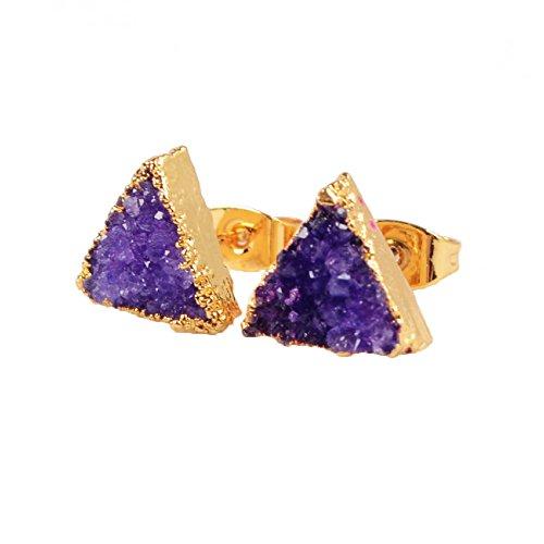 ZENGORI Gold Plated Triangle Agate Druzy Stud Earrings #G0432 (Asian Purple Earrings)