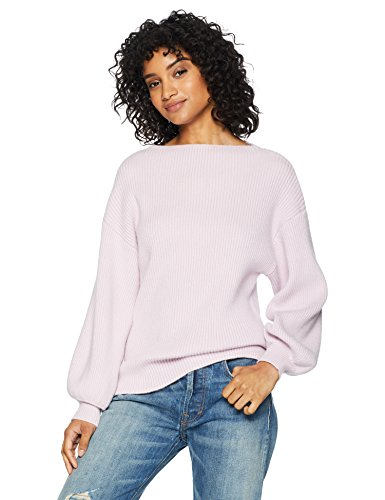 Cable Stitch Women's Ribbed Blouson Sleeve Sweater