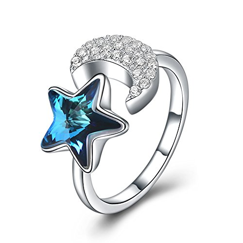 Austrian Toe Crystal Ring - Haokan Moon Star 925 Sterling Silver Open Ring for Women with CZ Austrian Crystal
