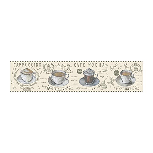 York Wallcoverings Portfolio II Coffee Time Border Removable Wallpaper, Off Off -