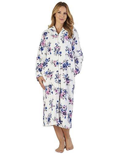 Coral Robe Gown Slenderella Bath Hc2312 Fleece Dressing Blue Floral Loungewear Women's 6wwgEqzZ