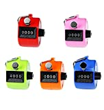 (US) Hand Tally Counter, Usany 5 Pack 4 Digit Hand Held Tally Counter Clicker with Finger Ring, Assorted Colors