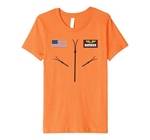 Maverick Halloween Costume (Kids Maverick Jet Fighter Pilot Halloween Costume Premium T-shirt 6 Orange)